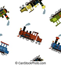 Seamless pattern with vintage steam locomotives in cartoon style on white background.