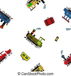 Seamless pattern with vintage steam puffers and luggage in cartoon style on white background.