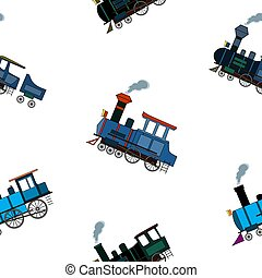 Seamless pattern with vintage steam puffers in cartoon style on white background.