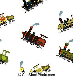 Seamless pattern with vintage steam trains in cartoon style on white background.