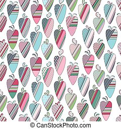 Seamless pattern with  vintage tilda hearts on white. Pastel colors.