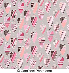 Seamless pattern with  vintage tilda hearts.