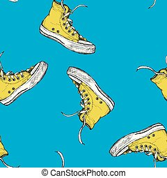 Seamless pattern with vintage yellow sneakers
