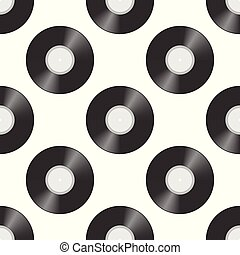 Seamless pattern with Vinyl records.