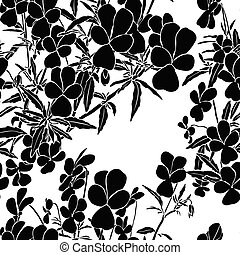 Seamless pattern with viola tricolor. Black illustration on ...