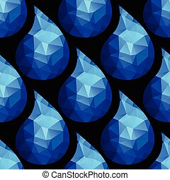 Seamless pattern with water drops from blue triangles on white background.