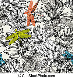 Seamless pattern with water lilies and dragonflies, hand drawing. Vector illustration.