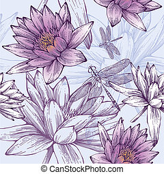 Seamless pattern with water lilies and dragonflies. Vector illustration.