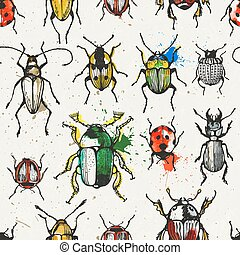 Seamless pattern with watercolor beetles.