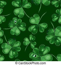 Seamless pattern with watercolro clover 4