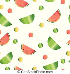 seamless pattern with watermelon and polka dots