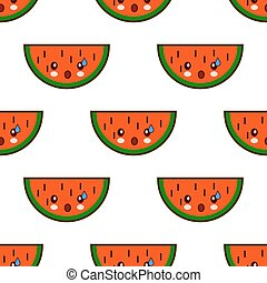 Seamless pattern with watermelon cute fruit kawaii characters on white background. Flat design Vector