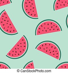 Seamless pattern with watermelon slices
