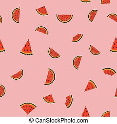 Seamless pattern with watermelon slices. Vector.