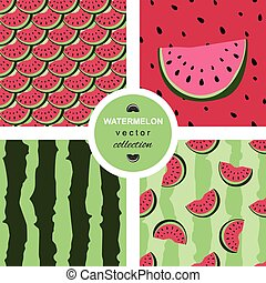 Seamless  pattern with watermelons and dots.