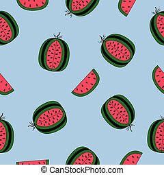 Seamless pattern with watermelons on a blue background.