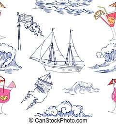 Seamless pattern with waves, ships and cocktails
