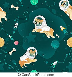 Seamless pattern with Welsh Corgi dogs flying in open space cartoon style