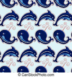 Seamless pattern with whales and dolphins - ornamental background.