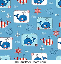 Seamless pattern with whales