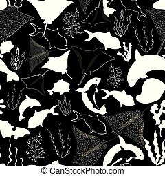 Seamless pattern with whales, seaweeds, corals and fish.