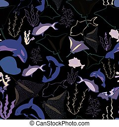 Seamless pattern with whales, seaweeds, corals and fish