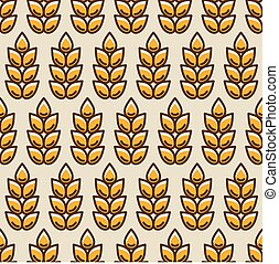Seamless pattern with wheat