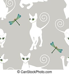 seamless pattern with white cats