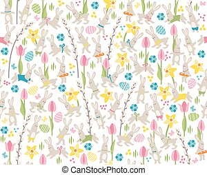 Seamless pattern with white easter rabbits - Seamless white...