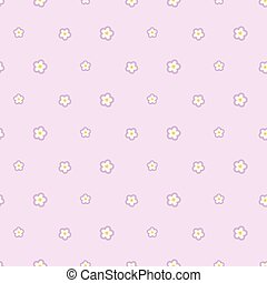 Seamless pattern with white five petals flowers on pink background