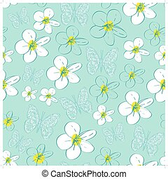 Seamless pattern with white flowers on a blue background. vector