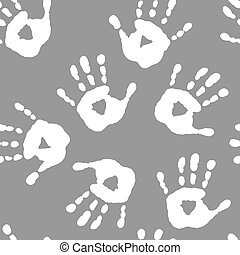 Seamless pattern with white handprints