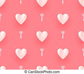 Seamless pattern with white hearts and keys on a red background for Valentine Day. Vector Illustration.