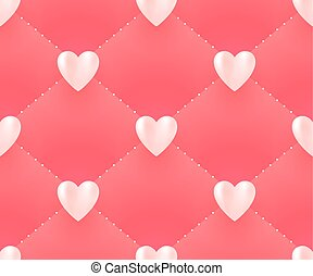 Seamless pattern with white hearts on a pink background for Valentine Day. Vector Illustration.