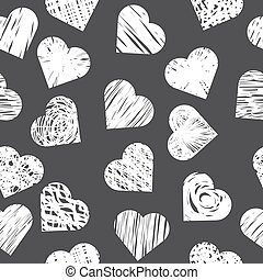 Seamless pattern with white hearts on black background. Stylish print with hand drawn hearts