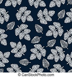 Seamless pattern with white leaves. Vector illustration on blue background
