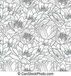 Seamless pattern with white lily flowers,