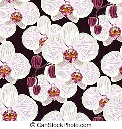 Seamless pattern with white orchids on black background