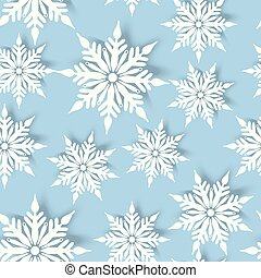 seamless pattern with white paper snowflakes on blue