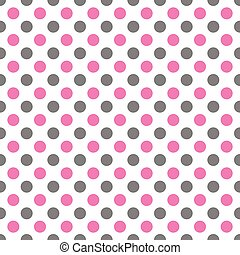 Seamless pattern with white polka dots in two colors pink and gray - women colors Illustration