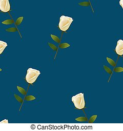Seamless pattern with white rose on blue background