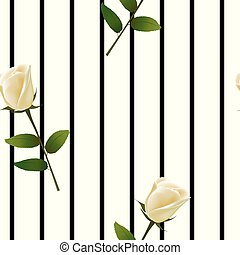 Seamless pattern with white rose