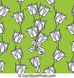Seamless pattern with white roses on green. Vector illustration