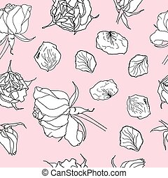 Seamless pattern with white roses on pink. Vector illustration