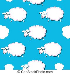 Seamless pattern with white sheep on the sky background
