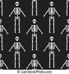 Seamless pattern with white skeletons