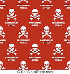 Seamless pattern with white skulls and crossbones on red background. Symbol of Ransomware attack.