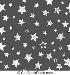 Seamless pattern with white stars on black background. Stylish print with hand drawn stars