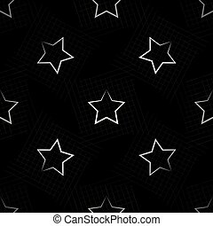 Seamless pattern with white stars on black background. Vector illustration.