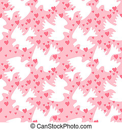 Seamless pattern with white sweethearts